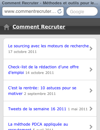 Capture du site mobile